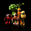 3d rendered illustration of some funny food characters