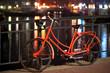 Orange bicycle in Amsterdam