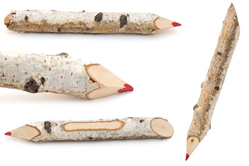 red pencils collection made from tree branches