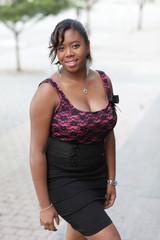Fashionable woman smiling