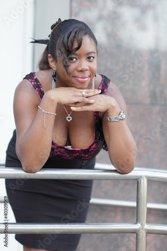 Woman leaning on the rail