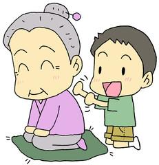 肩たたき お婆ちゃん