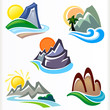 ABSTRACT NATURE - MOUNTAIN AND HILLS ICON SET