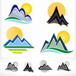 ABSTRACT MOUNTAIN AND HILLS SYMBOLS SET