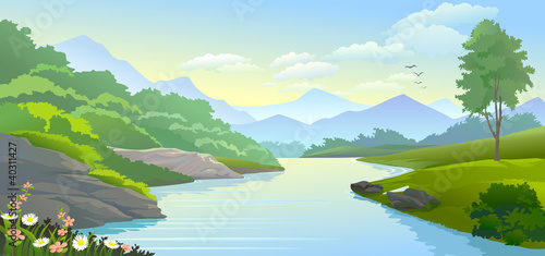 PANORAMIC VIEW OF RIVER IN VALLEY © NEILRAS