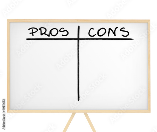 Pros and cons table on white presentation board