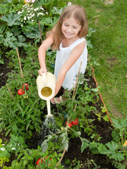 Lovely girl watering vegetables in the garden