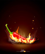 vector flaming red chili on a brown background
