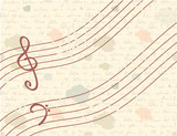 Musical vintage background with handwriting