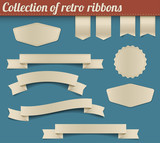 Fototapety Collection of vector retro ribbons and tags