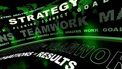 Business oriented words animation green (loop)