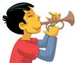 Trumpet player teenage boy