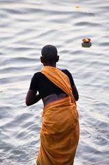 Sadhu praying at the ghats in Varanasi (India)