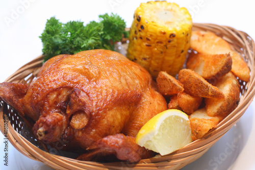 Food - Fried Chicken with Potato Wedges