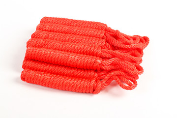 red climbing rope isolated on white background