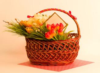 Easter spring flowers in basket