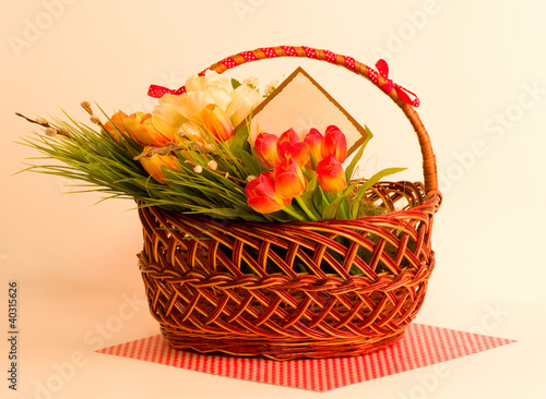 Easter spring flowers in basket