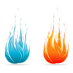 Red and Blue flame icon