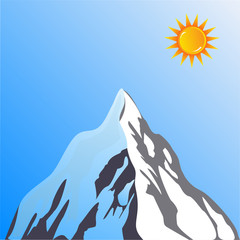 Mountain peak with sun vector