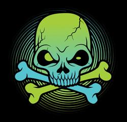 green Skull head vector illustration