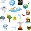 Set of extreme weather condition signs