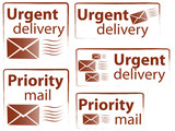 Various urgent and priority stamps poster