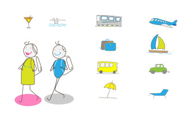Illustration of vacation and travel
