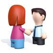 Frau und Mann mit hand check