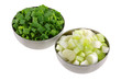Bowl of Chopped Spring Onion, green leaves isolated on white