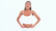 Woman having succeeded in her diet