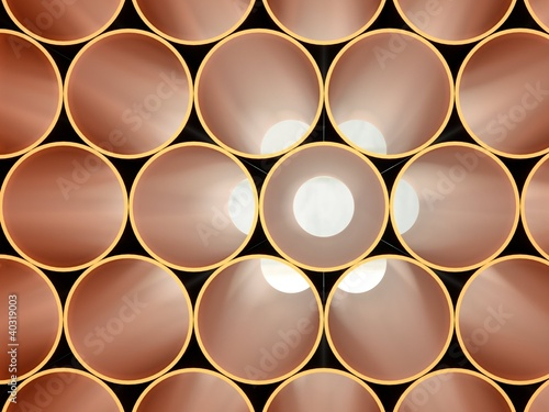 stack of gold tubing