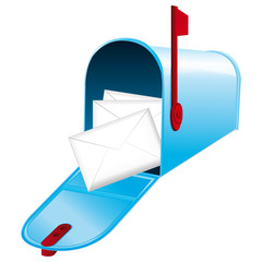 Opened blue metallic mailbox. Red flag up.