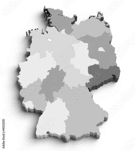 3D Germany map on white
