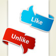 Like and unlike icons. Thumb up and thumb down signs for blogs a