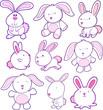 Easter Bunny Rabbit Vector Set