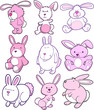 Easter Bunny Rabbit Vector Set