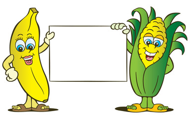 Banana and corn characters with banner