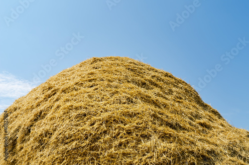 haystack of straw heap under cloudy sky