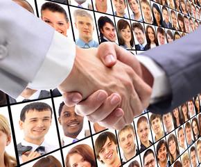 handshake and virtual background