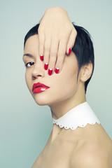 Lady with bright nail polish