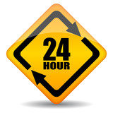 Vector 24 hour rhombus sign poster