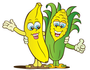 Banana and corn healthy eating characters
