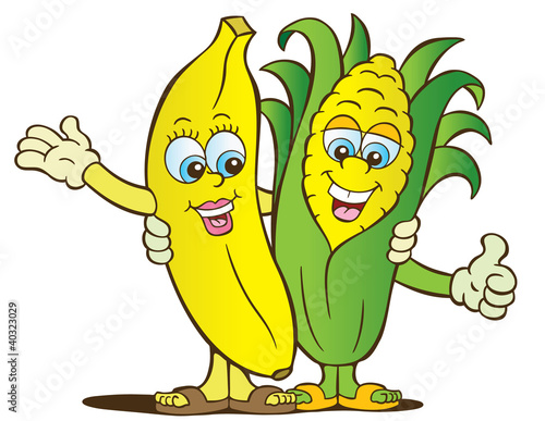 Banana and corn healthy eating characters