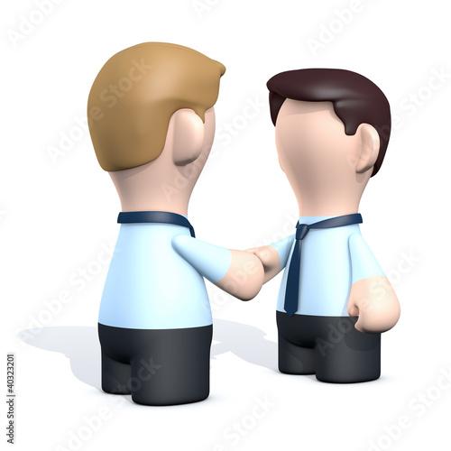 Zwei Geschäftsmänner mit hand check
