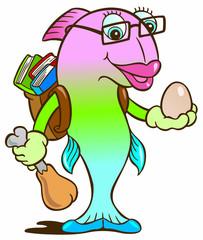 Fish protein cartoon character