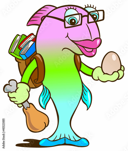 Fish protein cartoon character