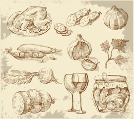 Hand-drawn set vegetables