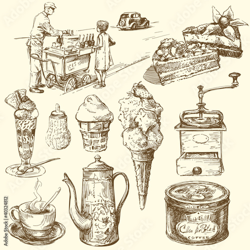 coffee, ice cream, confectionery - hand drawn collection