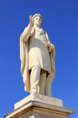 Statue of Greek Poet Dionisios Solomos at Zakynthos island