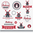 Set of vintage retro elements for bakery. Vector